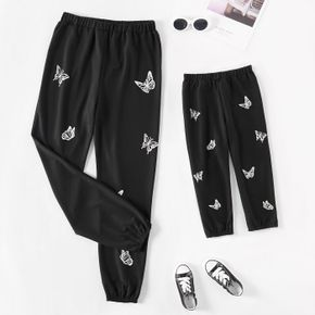 Butterfly Print Black Elasticized Casual Sweatpants Trouser for Mom and Me