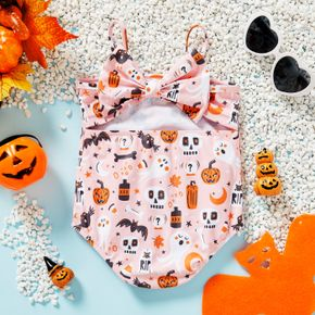Halloween Theme All Over Print Pink Spaghetti Strap Baby Swimsuit