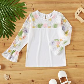 Kid Girl Floral Pattern Hollow out Colorblock Long Bell sleeves Tee