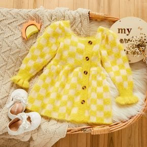 Yellow Plaid Square Neck Button Down Long-sleeve Baby Knitted Fuzzy Dress