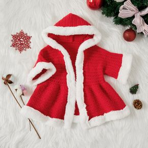 Christmas Baby Fuzzy Fleece Splicing Red Knitted 3/4 Sleeve Hooded Cardigan Outwear