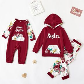 Letters and Floral Print Red Sibling Matching Long-sleeve Sweatshirts Sets