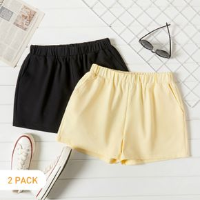 2-Pack Casual Solid Shorts Set For women
