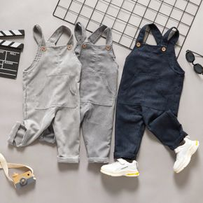 Toddler Girl/Boy Ribbed Solid Button Design Overalls with Pocket