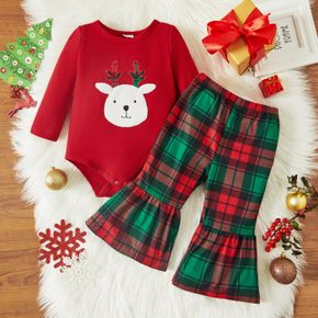 Christmas 2pcs Baby Girl Reindeer Pattern Red Long-sleeve Romper and Plaid Bell Bottom Pants Set