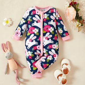 Baby Girl All Over Cartoon Rabbit and Floral Print Long-sleeve Jumpsuit