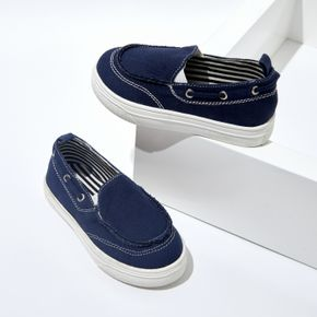 Toddler / Kid Perforated Lace-up Detail Blue Canvas Shoes