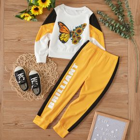2-piece Kid Girl Butterfly Print Colorblock Pullover and Letter Print Pants Casual Set