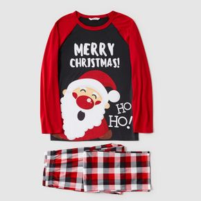 Christmas Cartoon Santa and Letter Print Red Family Matching Long-sleeve Pajamas Sets (Flame Resistant)