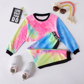 2-piece Kid Girl Tie Dye Pullover and Letter Print Pants Set