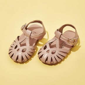 Toddler / Kid Cut Out Solid Color Ankle Strap Sandals