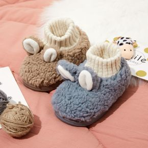 Toddler / Kid Cartoon Solid Color Knit Splicing Slippers