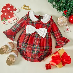 Christmas Baby Girl Doll Collar Bowknot Red Plaid Bell Sleeve Romper