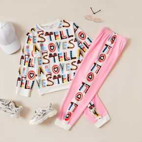 2-piece Kid Girl Letter Heart Print Pullover and Elasticized Pants Set