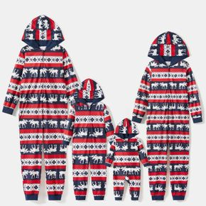 Christmas All Over Print Family Matching Long-sleeve Hooded Onesies Pajamas Sets (Flame Resistant)