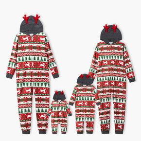 Family Matching Christmas All Over Print Red 3D Antlers Hooded Long-sleeve Onesies Pajamas Sets (Flame Resistant)