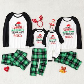 Christmas Letters Print Family Matching Long-sleeve Plaid Pajamas Sets (Flame Resistant)