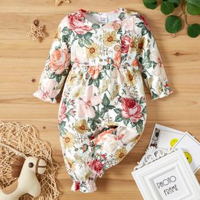 Baby Girl All Over Floral Print Long-sleeve Jumpsuit