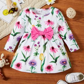Baby Girl All Over Floral Print Long-sleeve Bowknot Dress