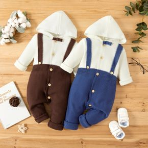 Baby Boy Colorblock Button Down Long-sleeve Hooded Knitted Jumpsuit