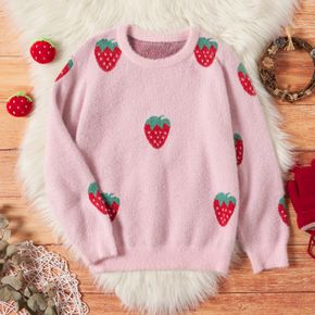 Kid Girl Strawberry Embroidered Fuzzy knit Sweater