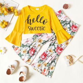 2-piece Toddler Girl Letter Print Bell sleeves Tee and Floral Print Flared Pants Set