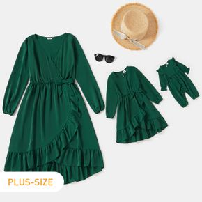 Green Ruffle Bowknot Long-sleeve Midi Flowy Dress for Mom and Me