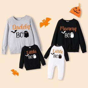 100% Cotton Halloween Letter and Ghost Print Family Matching Long-sleeve Sweatshirts