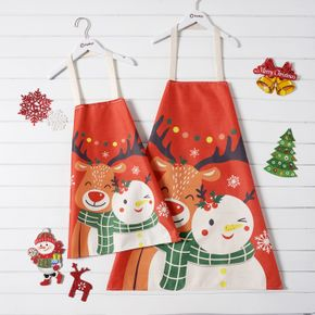 Christmas Deer and Snowman Print Red Apron for Mom and Me