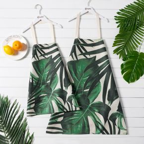 Green Tropical Leaves Print Aprons for Mom and Me