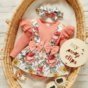 2pcs Baby Floral Print Ribbed Ruffle Long-sleeve Faux-two Romper Dress Set