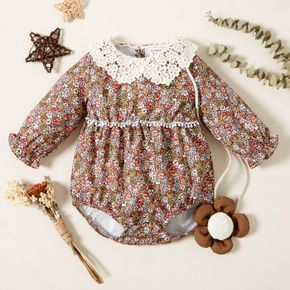 All Over Floral Print Lace Doll Collar Long-sleeve Baby Dress