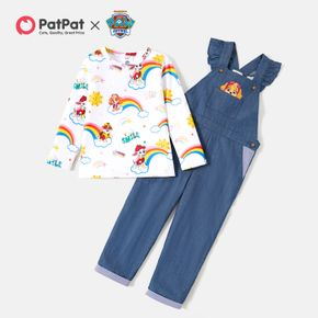 PAW Patrol Toddler Girl Denim Overalls and Rainbow Top