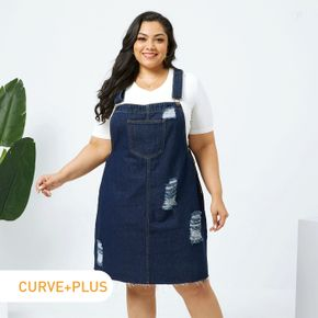 Women Plus Size Casual Ripped Denim Overall Dress