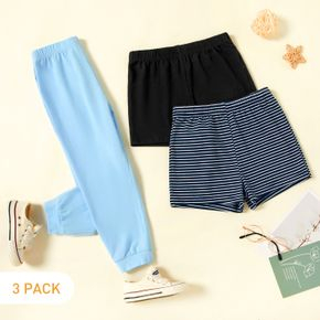 3-Pack Toddler Casual Solid & Striped Pants Shorts Set