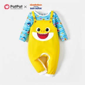Baby Shark 2-piece Baby Boy/Girl Allover Bodysuit and Graphic Overalls Sets