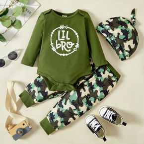 3pcs Baby Boy Letter Print Army Green Long-sleeve Romper and Camouflage Trousers Set