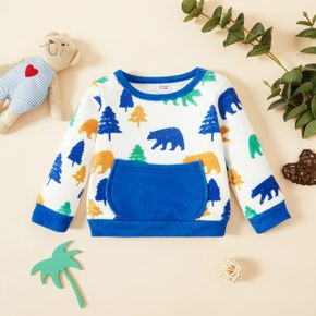Baby Girl All Over Bear and Tree Print Long-sleeve Pullover