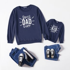 Letter Print Navy Long-sleeve Crewneck Sweatshirts for Dad and Me