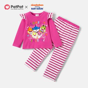 Baby Shark 2-piece Toddler Girl Halloween Cotton Top and Stripe Pants Sets
