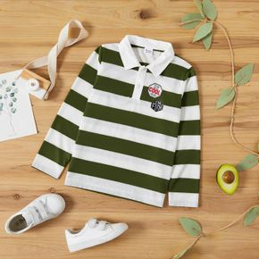 Kid Boy Stripe Colorblock Letter Embroidered Long-sleeve Polo Shirt