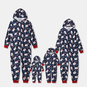 Christmas Santa All Over Print Blue Family Matching Long-sleeve Hooded Onesies Pajamas Sets (Flame Resistant)