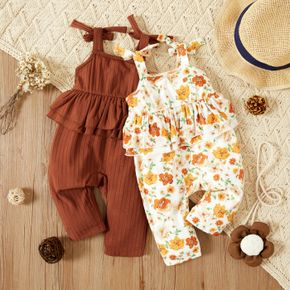 Baby Girl Solid/Floral Print Sleeveless Bowknot Ruffle Jumpsuit Overalls