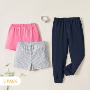 3-Pack Kids Casual Solid & Striped Pants Shorts Set