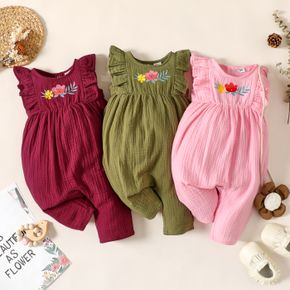 100% Cotton Crepe Floral Embroidered Sleeveless Ruffle Baby Girl Jumpsuit
