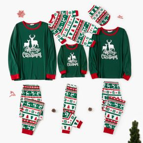 Christmas Deer and Letter Print Green Family Matching Long-sleeve Pajamas Sets (Flame Resistant)