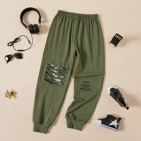 Kid Boy Camouflage Patchwork Ripped Pants