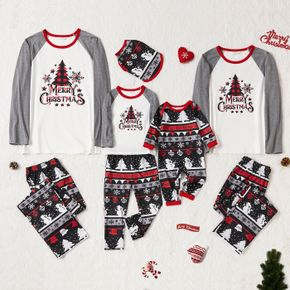 Christmas Tree Snowflake and Letters Print Grey Family Matching Long-sleeve Pajamas Sets (Flame Resistant)