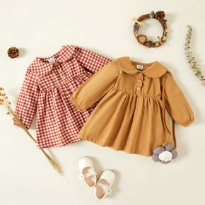 100% Cotton Baby Girl Plaid/Solid Doll Collar Long-sleeve Dress