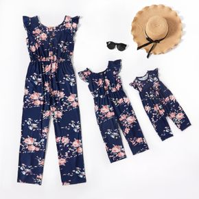 All Over Floral Print Blue U Neck Ruffle Flutter Sleeve Button Down Jumpsuit for Mom and Me